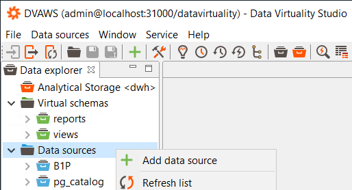 adding new data sources to Data Virtuality server