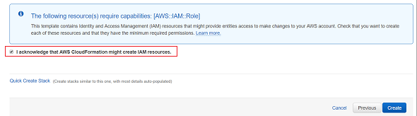 AWS CloudFormation might create IAM resources