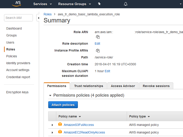 IAM and attach Policies to Roles on AWS Management Console