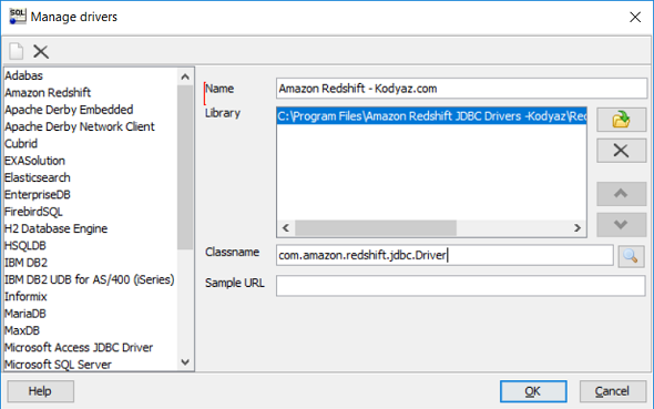 Manage Drivers for Amazon Redshift JDBC driver on SQL Workbench