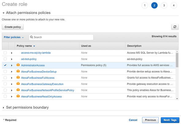 attach permissions policies to new IAM role
