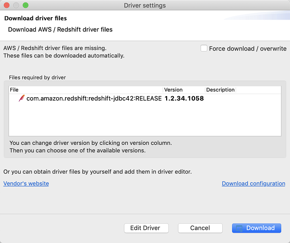 download AWS Redshift driver files in DBeaver