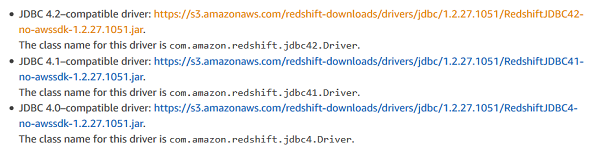 Download JDBC Driver for Amazon Redshift