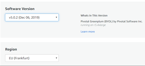 Pivotal Greenplum version and AWS Region for installation