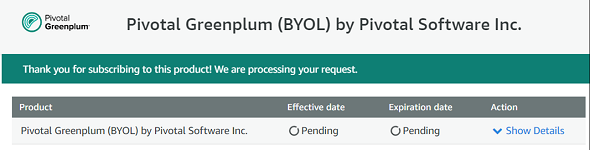Pivotal Greenplum BYOL Subscription