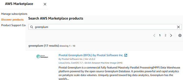 Pivotal Greenplum Data Warehouse on AWS Marketplace
