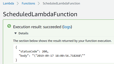 test execution result of AWS Lambda function