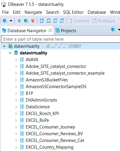 DBeaver Database Navigator showing Data Virtuality connection