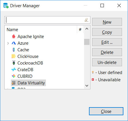 DBeaver driver manager including Data Virtuality JDBC driver
