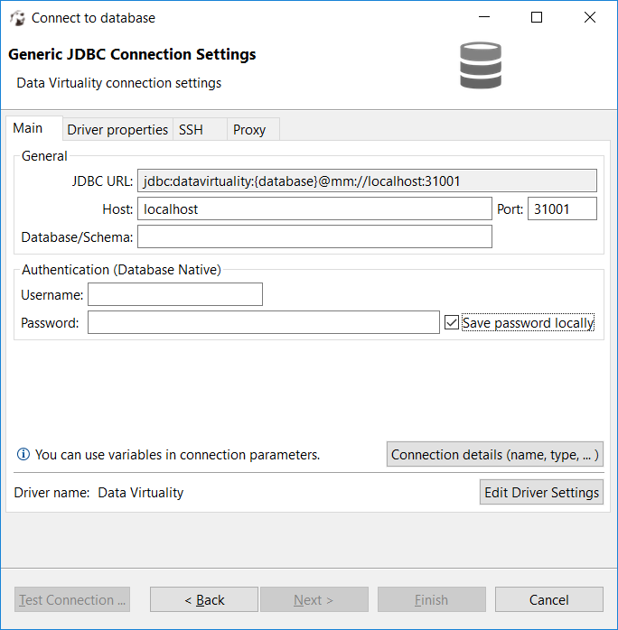 DBeaver generic JDBC connection settings for Data Virtuality
