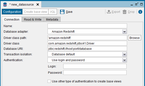 Denodo to Amazon Redshift database JDBC connection template