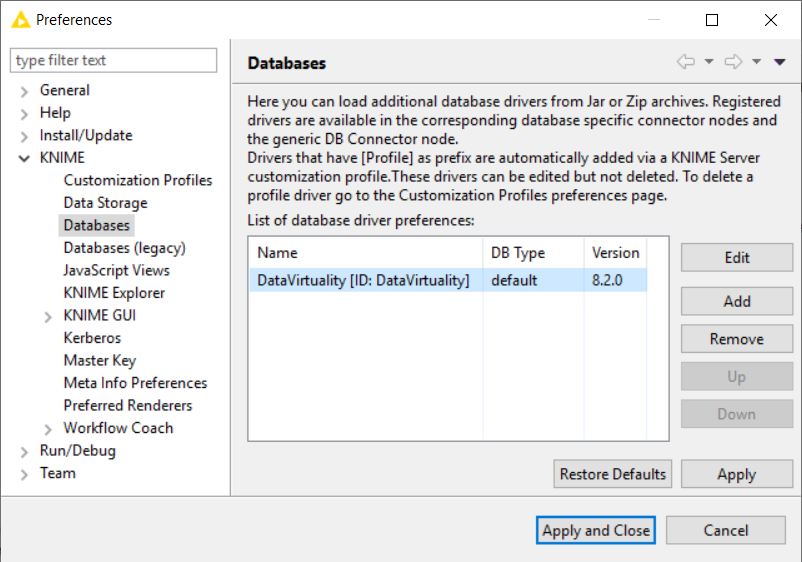 Knime Analytics additional database driver preferences