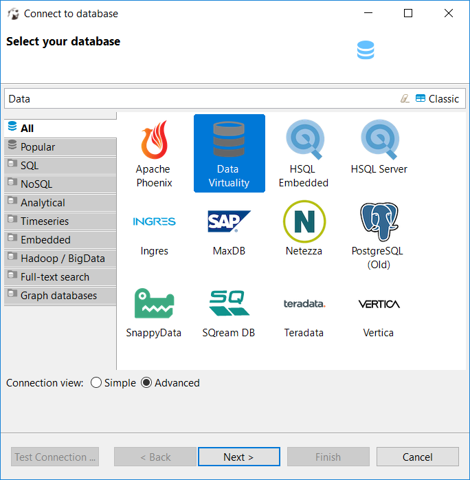 select Data Virtuality to connect from DBeaver