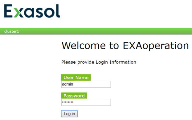 EXAoperation web ui as Exasol administration tool