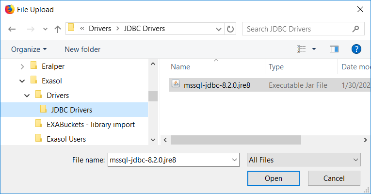 jdbc driver file for Exasol to connect SQL Server database