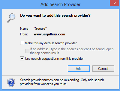 add Google search provider to Internet Explorer 10 web browser