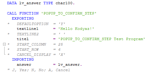 ABAP pop-up function module POPUP_TO_CONFIRM_STEP causing DYNPRO_SEND_IN_BACKGROUND error