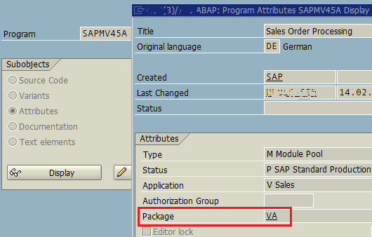 SAP package name of any ABAP program