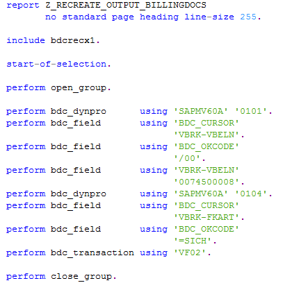 ABAP program source codes to create missing billing outputs for SAP invoices