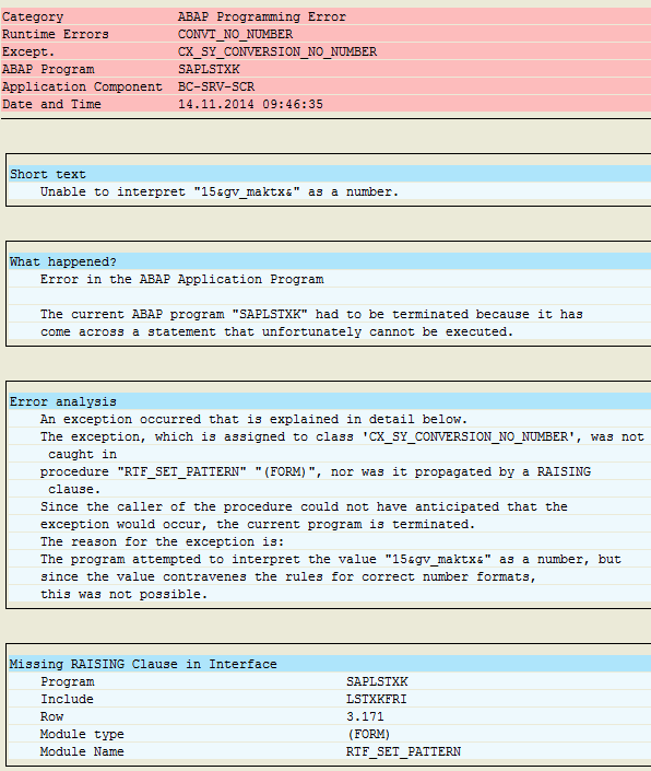 ABAP runtime eror CX_SY_CONVERSION_NO_NUMBER