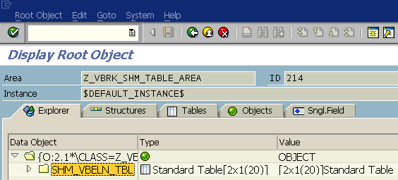 display ABAP shared memory object data