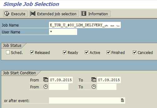 SAP SM37 tcode for simple job selection
