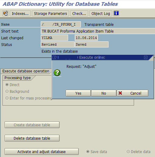 activate and adjust SAP database table