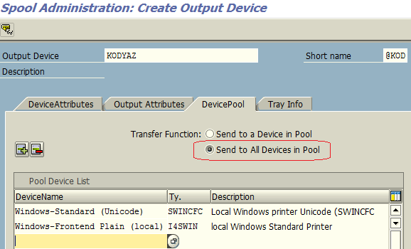 add multiple parallel printing devices to device pool using SAP SPAD