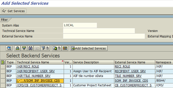 SAP Backend Services list including CDS View OData service