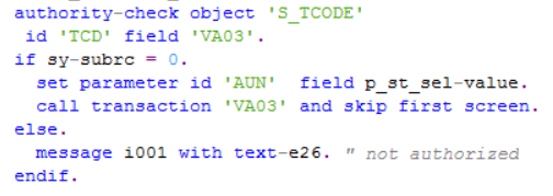 ABAP code using Authority-Check for SAP transaction code
