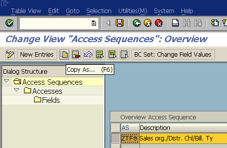 create new access sequence using SAP NACE transaction code