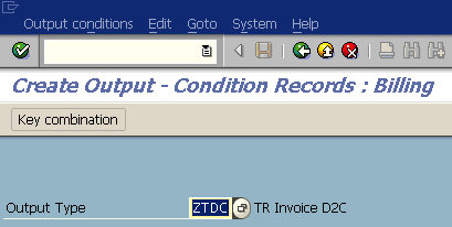 use VV31 to create condition records for new output type in SAP