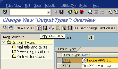 create new output type using copy of an existing output message type
