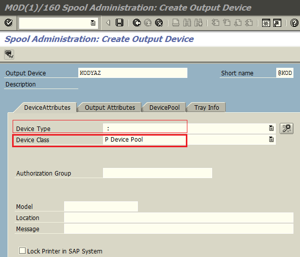 create output device as device pool for parallel printing on SAP