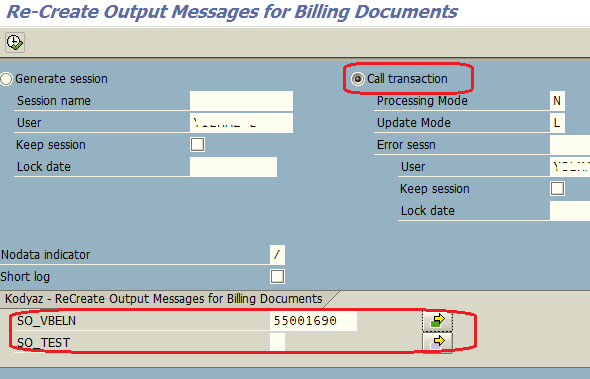 create output messages by mass update of billing documents