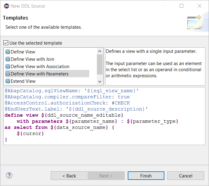 SAP HANA Studio create CDS View with Parameters template