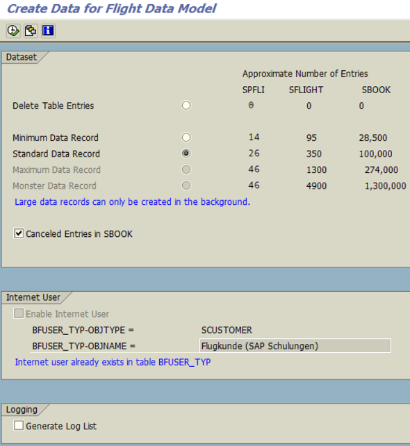 generate test data for SAP demo flight tables