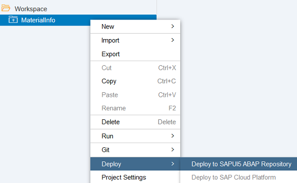 Web IDE SAPUI5 application deployment to SAP system