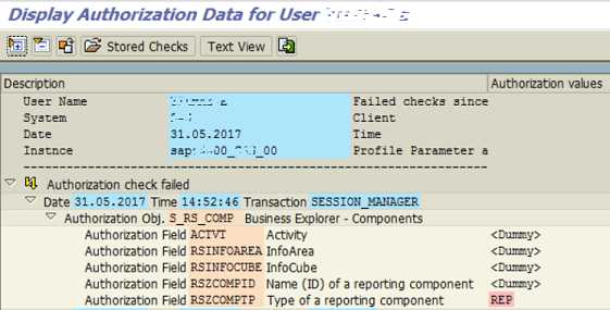 SAP transaction SU53 to display authorization data for user