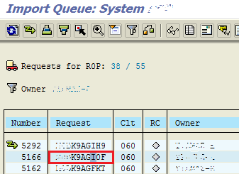 transport requests import queue for SAP systems
