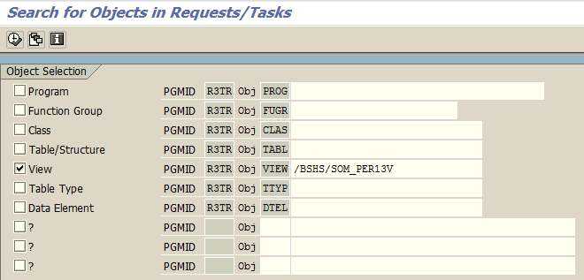 search for ABAP objects in SAP requests and tasks