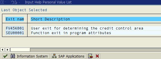 ABAP enhancements list on SMOD tcode