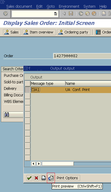 SAP Order Confirmation Smartform in Print Preview mode