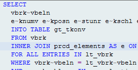 ABAP code where PRCD_ELEMENTS is used in OpenSQL query