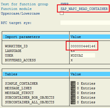 read SAP workflow work item container using ABAP function module