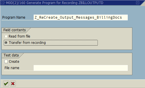 ABAP program properties created for batch input recording