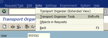 SAP Transport Organizer transaction