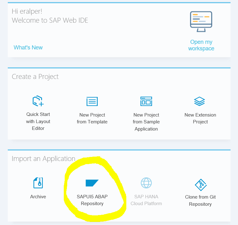 SAPUI5 ABAP Repository from SAP WebIDE