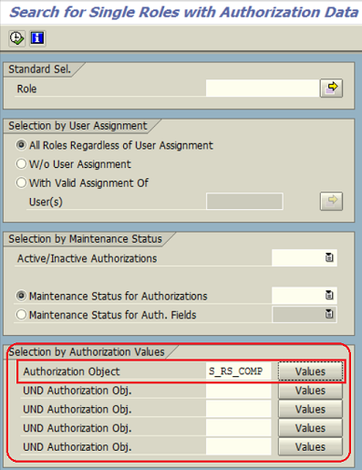 SAP SUIM to search for single roles with ABAP authorization data