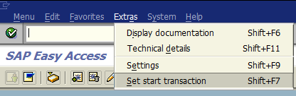 set start transaction for SAP user